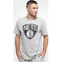 Camiseta Nba Brooklyn Nets Big Logo Masculina - Masculino-Cinza