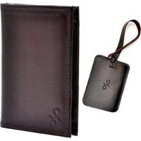 Kit 1 Porta-Passaporte 1 Tag De Mala De Couro Hendy Bag Masculino - Masculino-Marrom Claro+Vermelho
