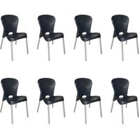Conjunto Com 8 Cadeiras De Plástico Montes Claros Preto