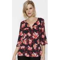 Blusa Floral Com Franzido - Preta & Vermelhasimple Life
