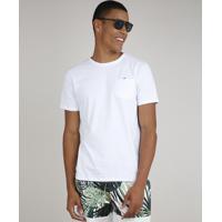 Camiseta Masculina Com Bolso Manga Curta Gola Careca Branco