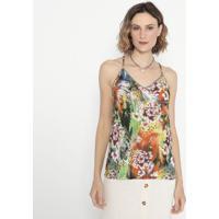 Blusa Floral Com Pedrarias- Verde & Laranja- Shirleyshirley Dantas