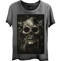 Camiseta Feminina Estonada Gola Canoa Corte A Fio Skull Root Tree