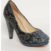 Sapato Tradicional Texturizado & Animal - Azul Marinho &Mya Haas