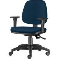 Cadeira Job Com Bracos Assento Courino Azul Escuro Base Nylon Arcada - 54615 - Sun House