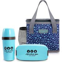 Kit 3 Peças Pote Marmita Bolsa Necessaire Térmica E Garrafa Jacki Design Azul