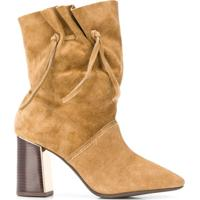 Tory Burch Drawstring Side Detail Boots - Marrom