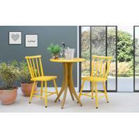 Conjunto Bistrô Mesa E 2 Cadeiras Redonda Juliette - Amêndoa E Amarelo