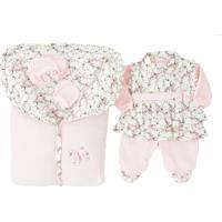 Saída De Maternidade Gente Pequenina - Pequena Babi - 5 Peças - Rosa Bebe - Plush