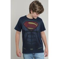 Camiseta Juvenil Super Homem Manga Curta Gola Careca Azul Marinho