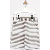 Bermuda Listrada Em Sarja- Taupe & Branca- Look Jeanlook Jeans