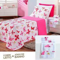 Kit Dourados Enxovais Combo Cobre Leito + Jogo De Banho Butterfly Pink Casal 08 Peças Dupla Face 150 Fios