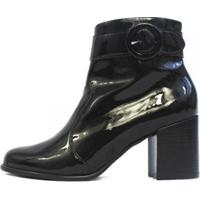 Bota Damannu Shoes Hilary Verniz Feminina - Feminino-Preto