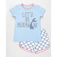 "Pijama Infantil Sereia ""Let'S Be Mermaids"" Manga Curta Azul Claro"