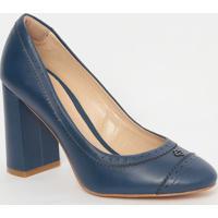 Sapato Em Couro Com Microfuros- Azul Marinho- Salto:Capodarte