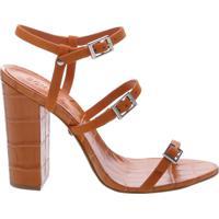 Sandália Salto Thin Stripes Ocre | Schutz