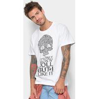 Camiseta Triton Rock'N'Roll Caveira Masculina - Masculino-Branco