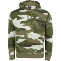 Blusão Com Capuz Nike Hoodie Po Ft Camo - Masculino - Verde Escuro