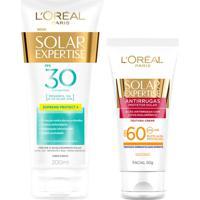 Kit L'Oréal Paris Protetor Corporal Solar Expertise Fps 30 + Protetor Facial Antirrugas Fps 60 50G - Unissex-Incolor