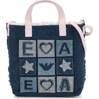 Emporio Armani Kids Bolsa Tote Jeans Com Patchwork E Logo - Azul