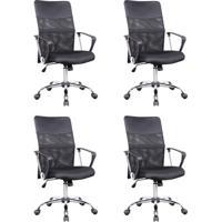 Conjunto Com 4 Cadeiras De Escritório Diretor Giratória Com Braços Vancouver Preto