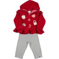Conjunto Bebê Plush E Cotton Ursinha E Bolsa Ano Zero - Feminino-Vermelho+Cinza