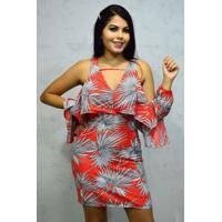 Vestido Curto Crepe Mangas Vazadas Tropical Laranja