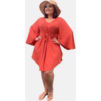 Vestido Kimono Curto Social Verão Tnm Collection Plus Size Casual Festa Coral