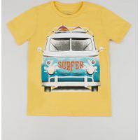 Camiseta Infantil Carros Manga Curta Gola Careca Amarela