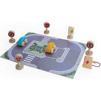 Brinquedo Estrada Com Carrinhos E Acessórios Em Madeira - Lume - Lm100