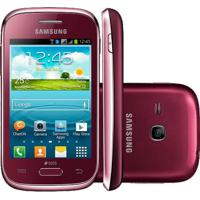 "Smartphone Samsung Galaxy Young Duos Plus Tv S6293 Vermelho - Dual Chip - 3Mp - Android 4.1 - 3.2"" - Tv Digital"