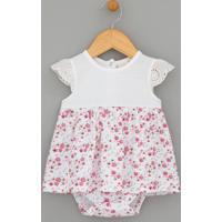 Vestido Body Infantil Estampado Com Guipire E Fechamento De Botões - Tam 0 A 18 Meses