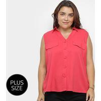 Blusa Regata Heli Plus Size C/ Botões Feminina - Feminino