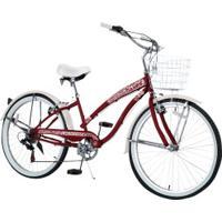 Bicicleta Dropboards Psycle Bardot 16 - Aro 26 - Freios V-Brake - 7 Marchas - Feminina - Vinho