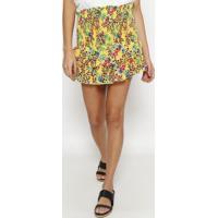 Saia Reta Floral Com Babados- Amarela & Roxa- Vixvix