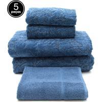 Jogo De Banho 5 Pçs Buddemeyer Gigante Collona Azul 100X150