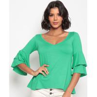 Blusa Lisa Com Babado- Verde- Thiptonthipton