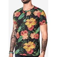 Camiseta Henley Floral 100034