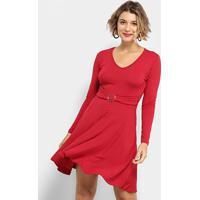 Vestido Flora Zuu Evasê Fivela Manga Longa - Feminino-Vermelho