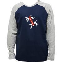 Camiseta Alkary Raglan Manga Longa Canivete Suiço Marinho E Mescla
