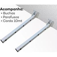 Varal De Roupas Retratil Automatico Secador Com 4 Cordas 3,2M + Kit Fixacao