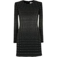 Valentino Vestido De Lã Com Aplicação - Preto