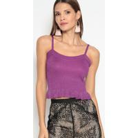 Blusa Cropped Canelada Com Brilho- Roxa- Le Fixle Fix