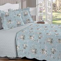 Conjunto De Colcha Dupla Face Renove Floral Casal- Azul Buettner