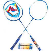 Kit Badminton C/ 2 Raquetes E 3 Petecas Pro Yw284 Azul