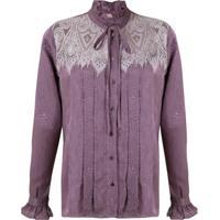 Lethicia Bronstein Camisa De Seda Gola Alta - Roxo