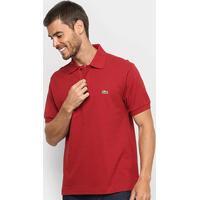 Camisa Polo Lacoste Original Fit Masculina - Masculino-Vermelho Escuro