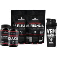 Kit 2X Monster Albumina500G C/ Monster Bcaa5200 100Tbs+ Monster Multivitamínico 30Cáps E Coqueteleira Multicolorido.