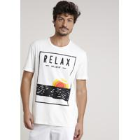"Camiseta Masculina ""Relax"" Manga Curta Gola Careca Off White"