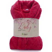Roupão De Microfibra Flannel Gola Xale - Appel - Lady - Vermelho
